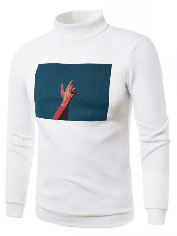 3D Photo Print Fleece Pullover Sweatshirt - WHITE 3XL