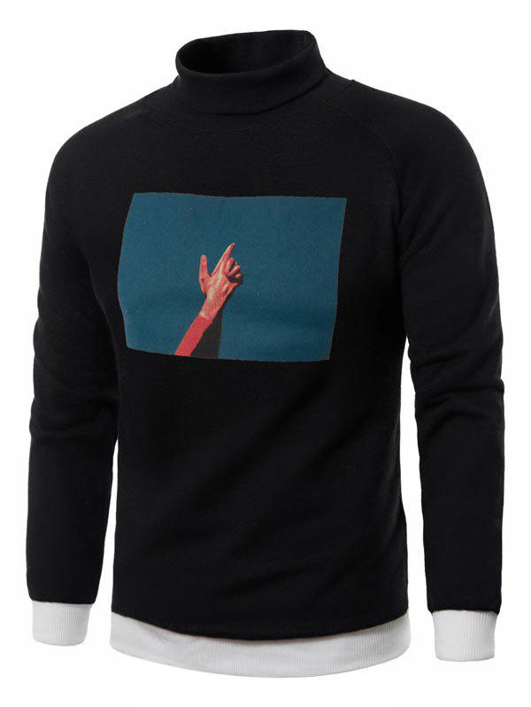 3D Photo Print Fleece Pullover Sweatshirt - BLACK L