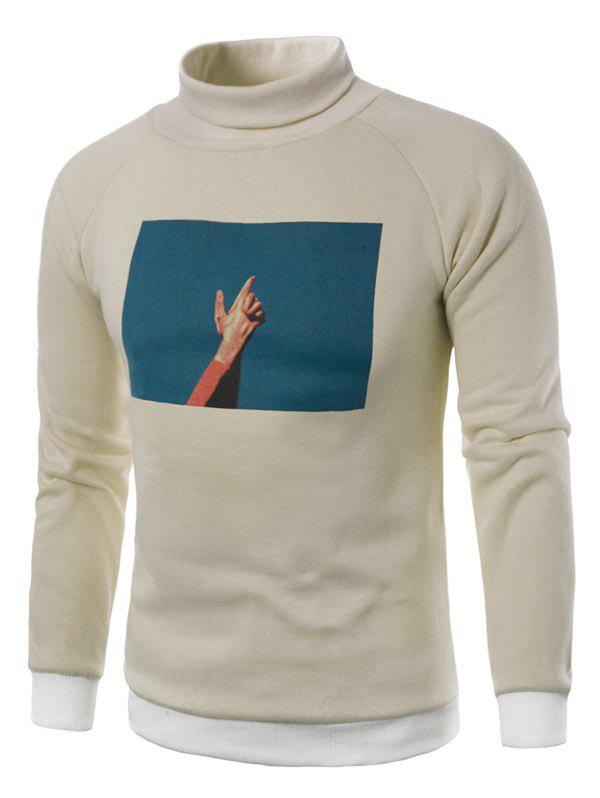 3D Photo Print Fleece Pullover Sweatshirt - KHAKI L