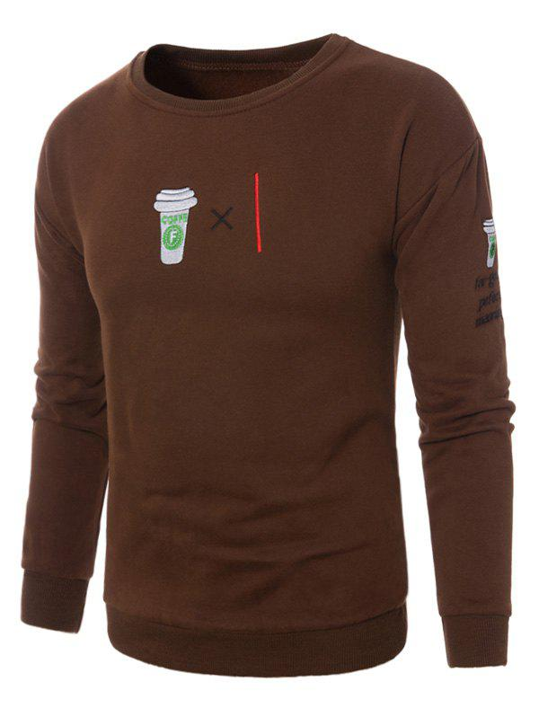 Coffee Graphic Embroidered Fleece Sweatshirt - BROWN 5XL
