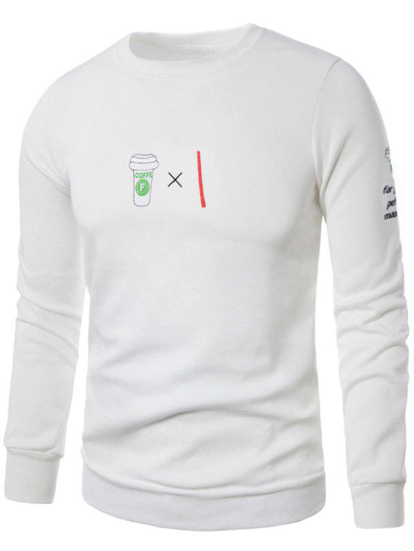 Coffee Graphic Embroidered Fleece Sweatshirt - WHITE 2XL
