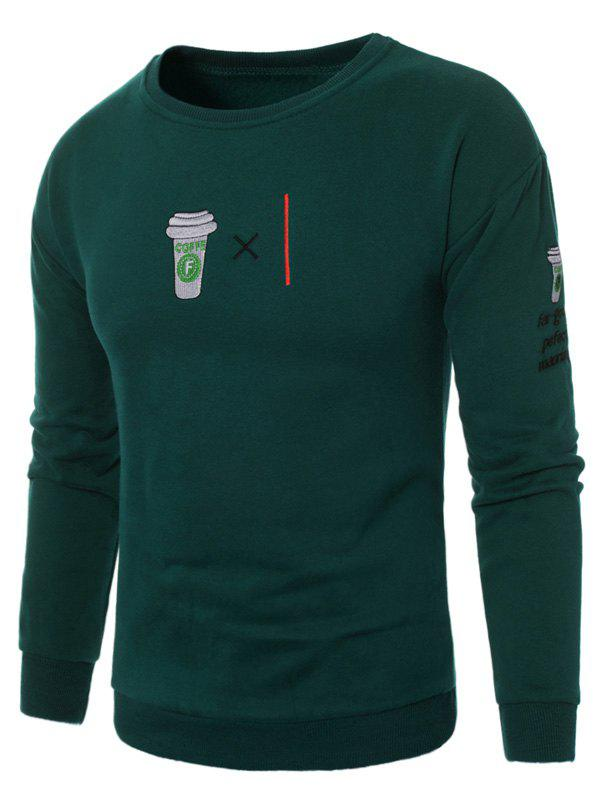 Coffee Graphic Embroidered Fleece Sweatshirt - GREEN 2XL