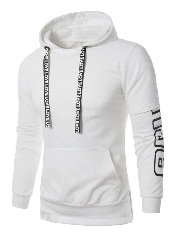 Colorful Stripe Graphic Print Pullover Hoodie - WHITE M