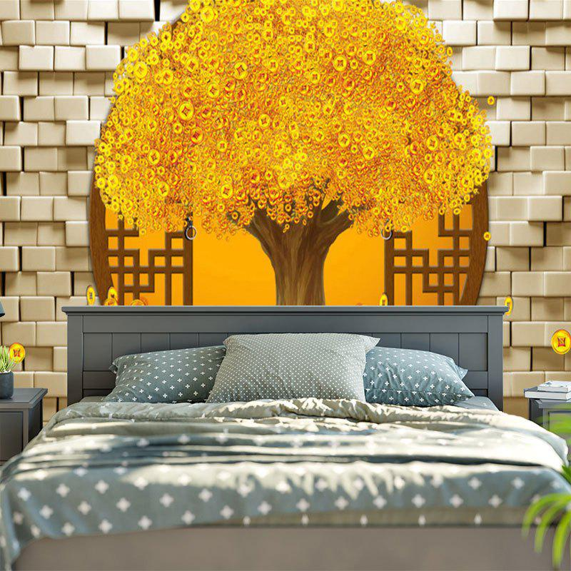 Copper Coin Money Tree Pattern Wall Tapestry - GOLDEN W79 INCH * L59 INCH