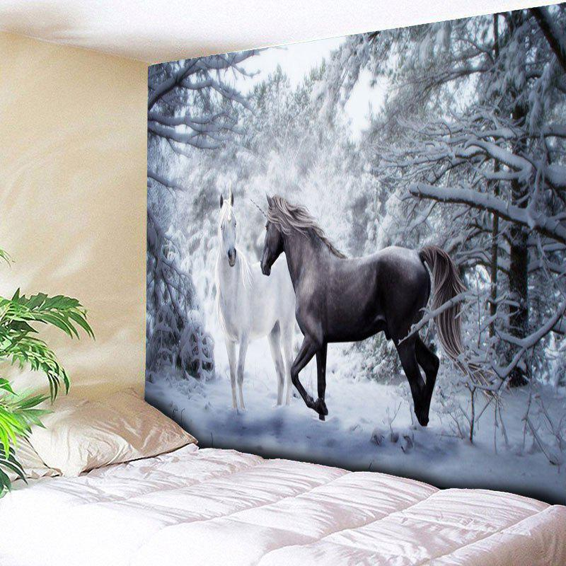 Wall Hanging Two Horses Print Tapestry - COLORMIX W59 INCH * L59 INCH