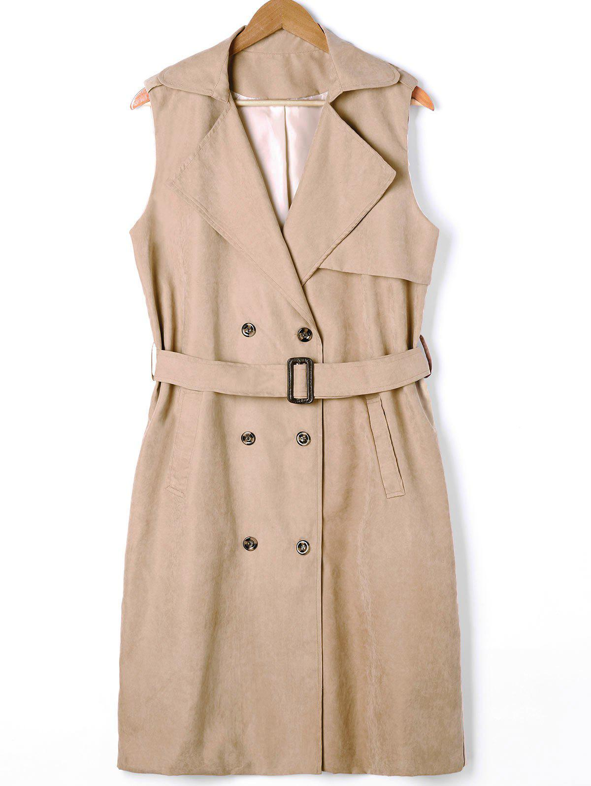 Plus Size Double Breasted Longline Waistcoat with Belt - LIGHT KHAKI XL