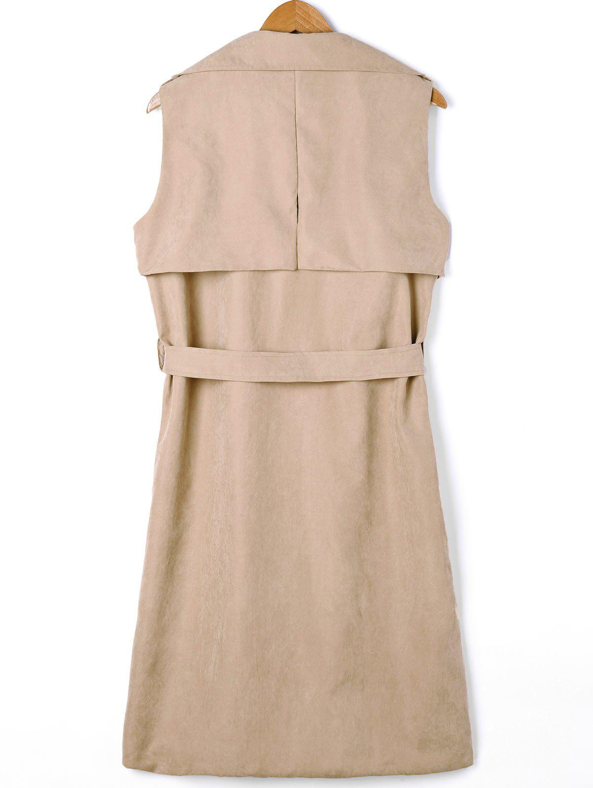 Plus Size Double Breasted Longline Waistcoat with Belt - LIGHT KHAKI 5XL