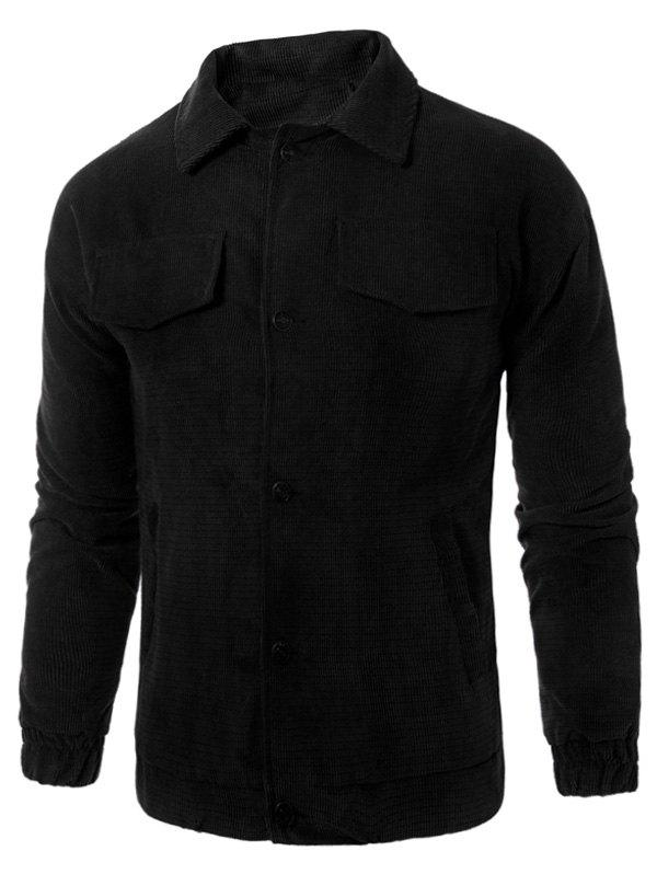 Graphic Embroidered Button Up Corduroy Jacket - BLACK L
