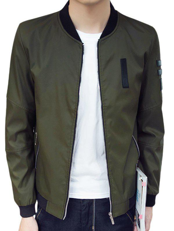 Zipper Pocket PU Patch Bomber Jacket - ARMY GREEN XL