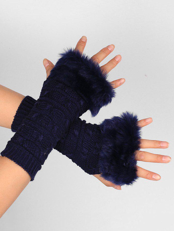Soft Fur Winter Crochet Knitted Exposed Finger Gloves - PURPLISH BLUE