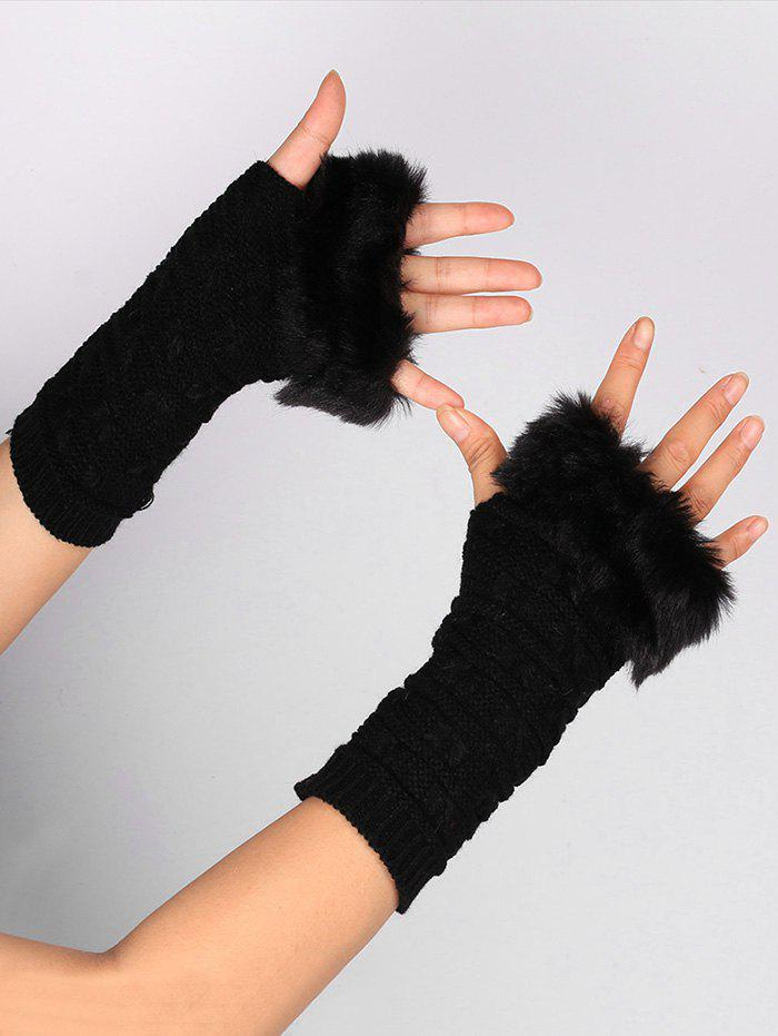 Soft Fur Winter Crochet Knitted Exposed Finger Gloves uhlsport eliminator soft roll finger goalkeeper gloves