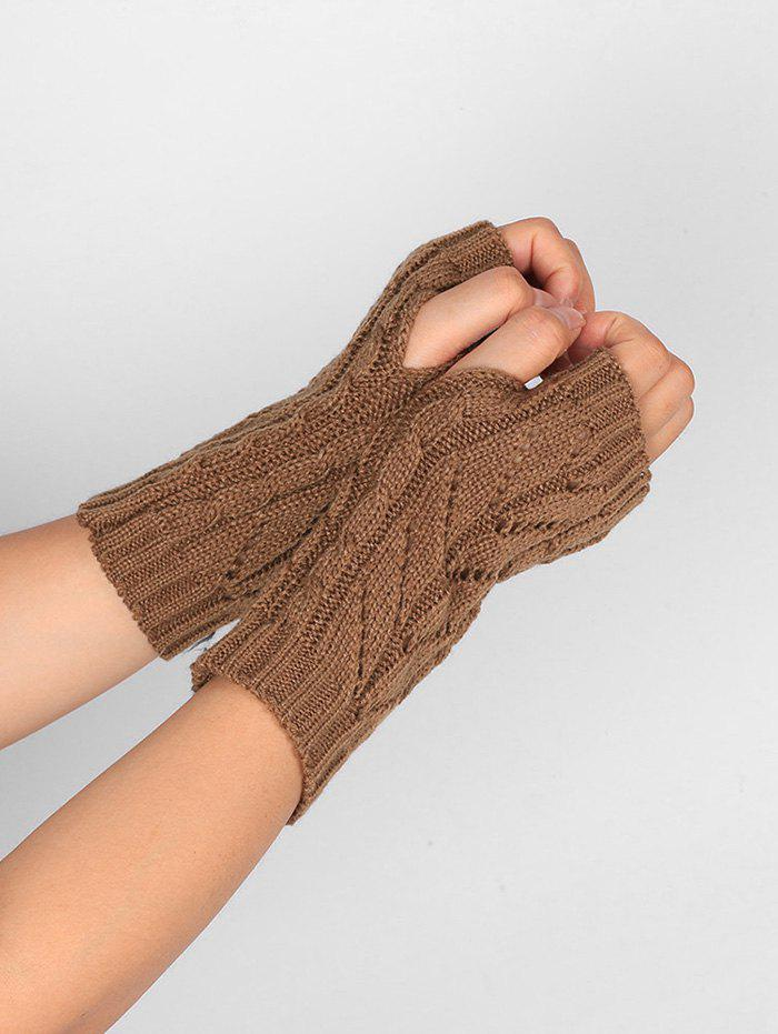 Letter V Shape Hollow Out Exposed Finger Knit Gloves - KHAKI
