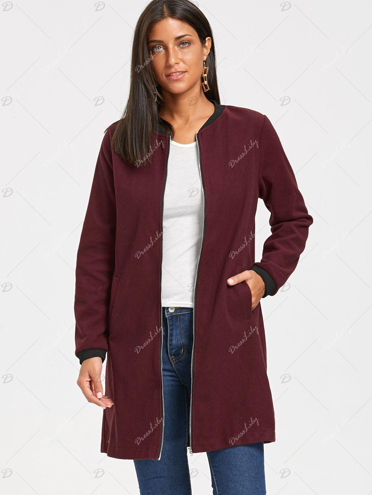 Long Zip Up Coat - Rouge vineux XL