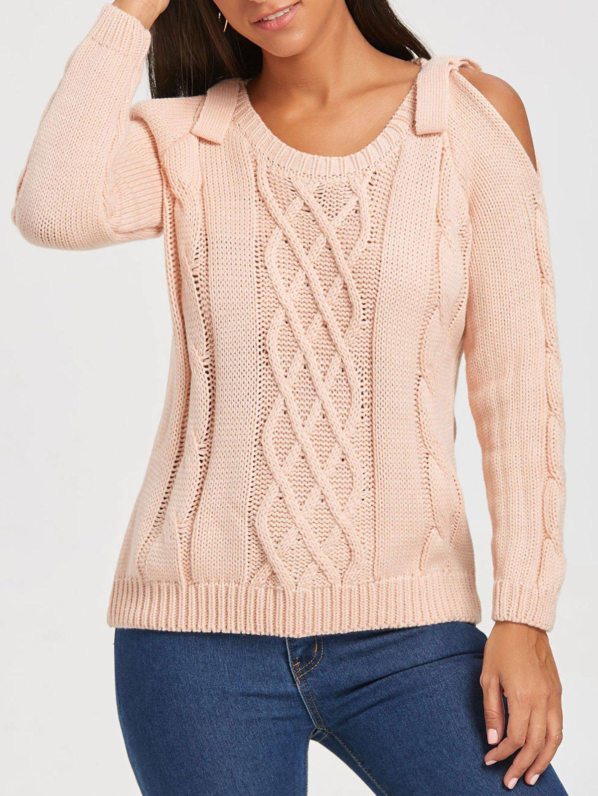 Open Shoulder Cable Knit Sweater open knit long sweater