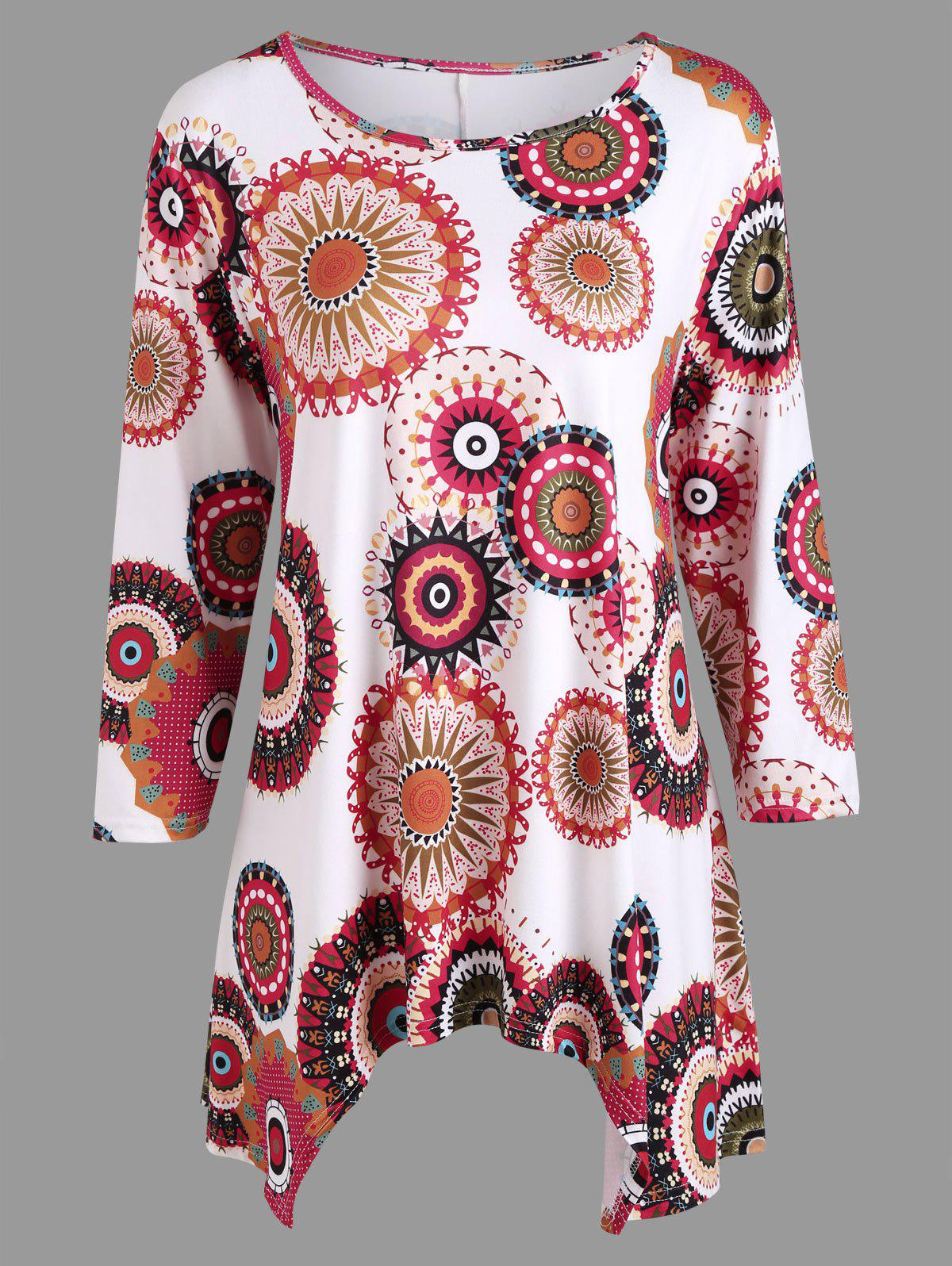 Casual Print Asymmetric Blouse - COLORMIX XL
