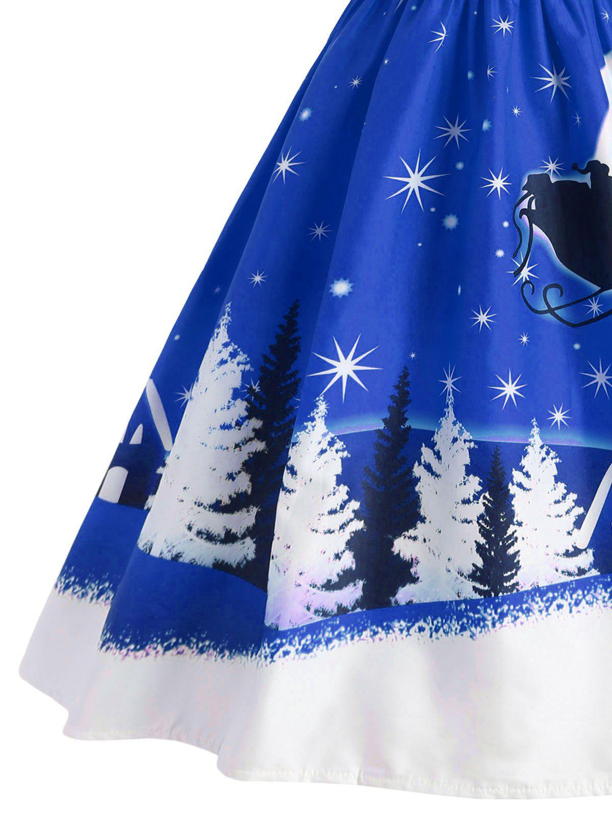 Santa Claus Deer Christmas Vintage Dress - BLUE M