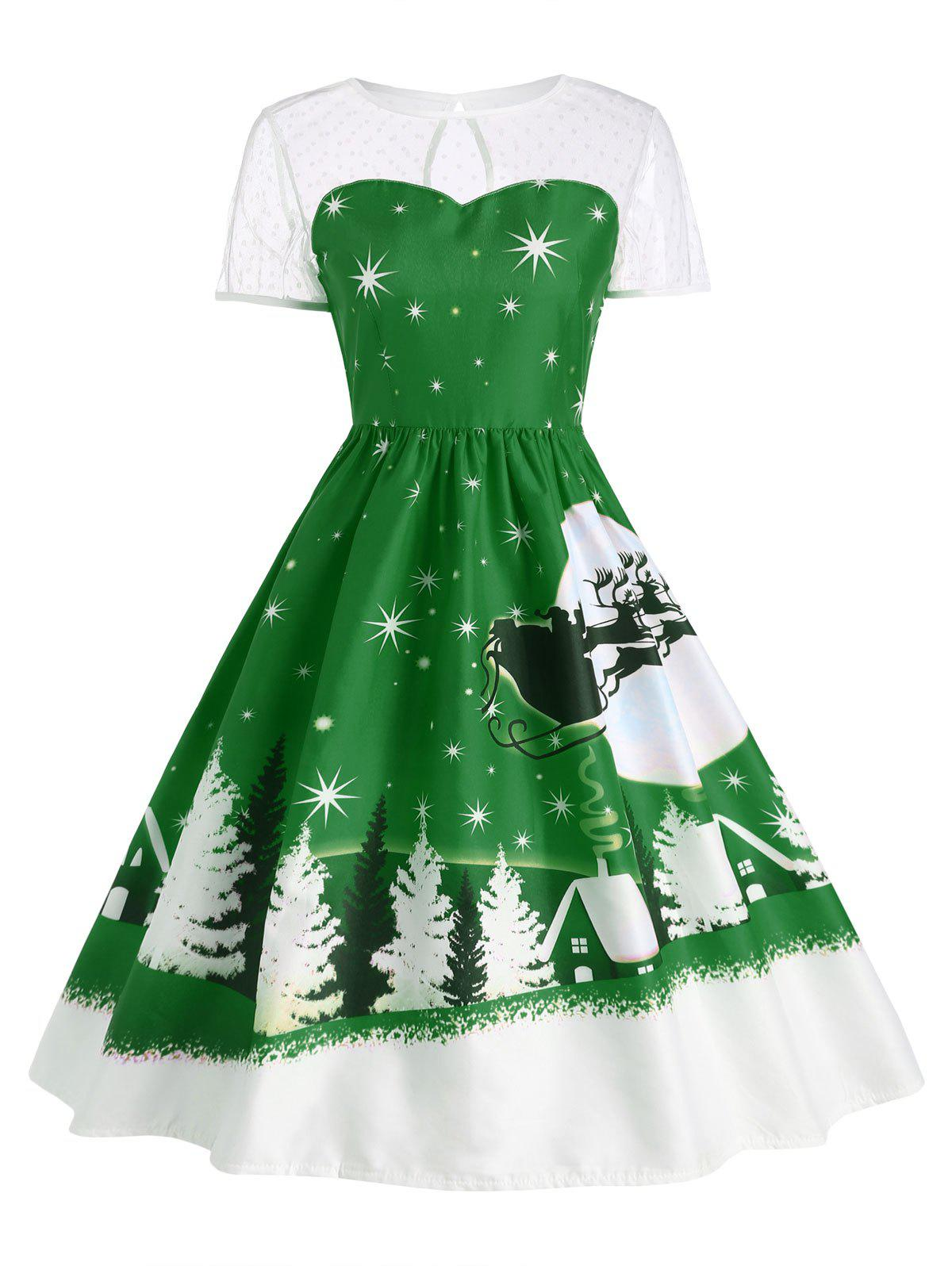 Santa Claus Deer Christmas Vintage Dress - GREEN L