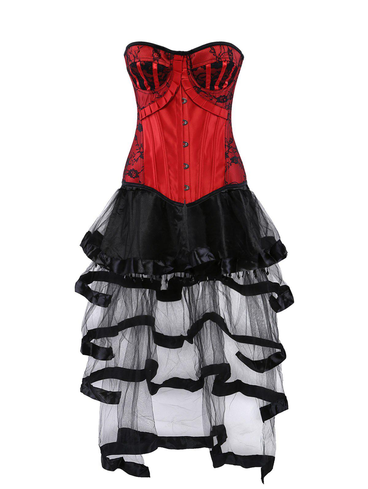 Lace Up Vintage Corset with Long Flounce Skirt - COLORMIX L