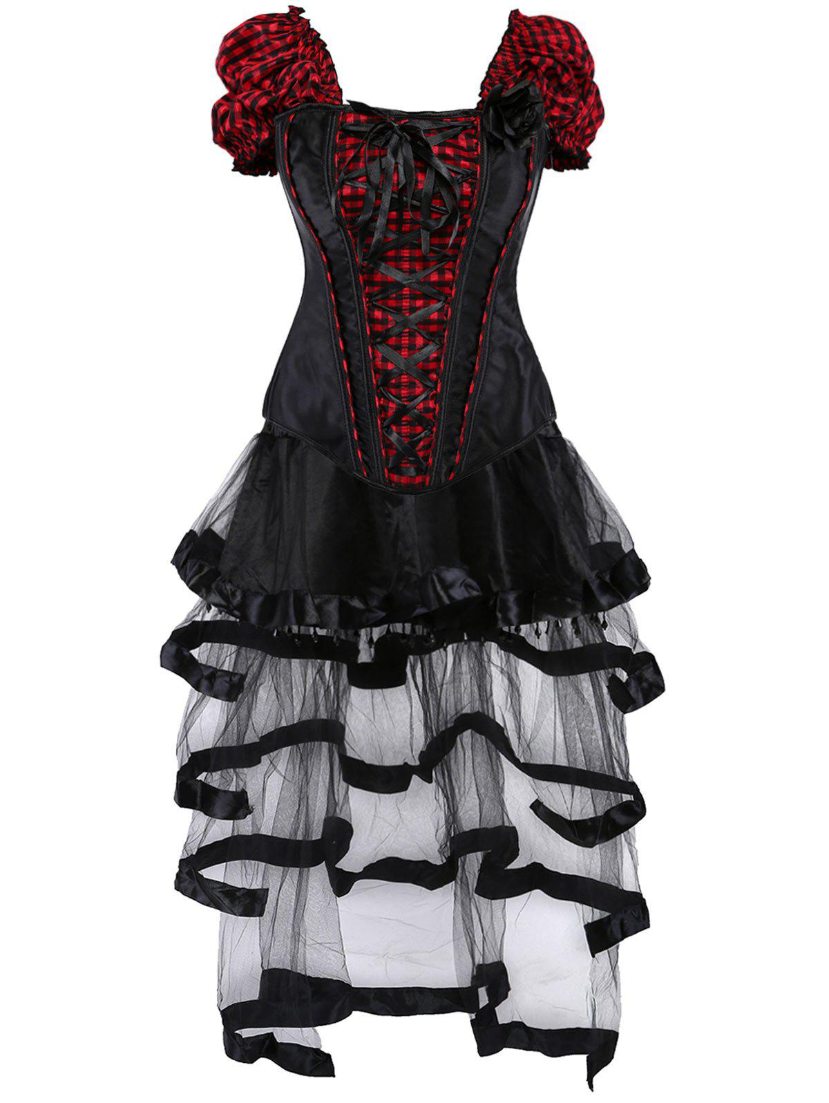 Gothic Checked Lace Up Corset with Sheer Skirt - RED/BLACK M