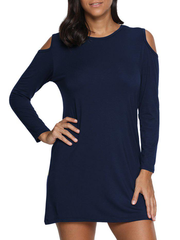 Cold Shoulder Mini T Shirt Dress - PURPLISH BLUE S