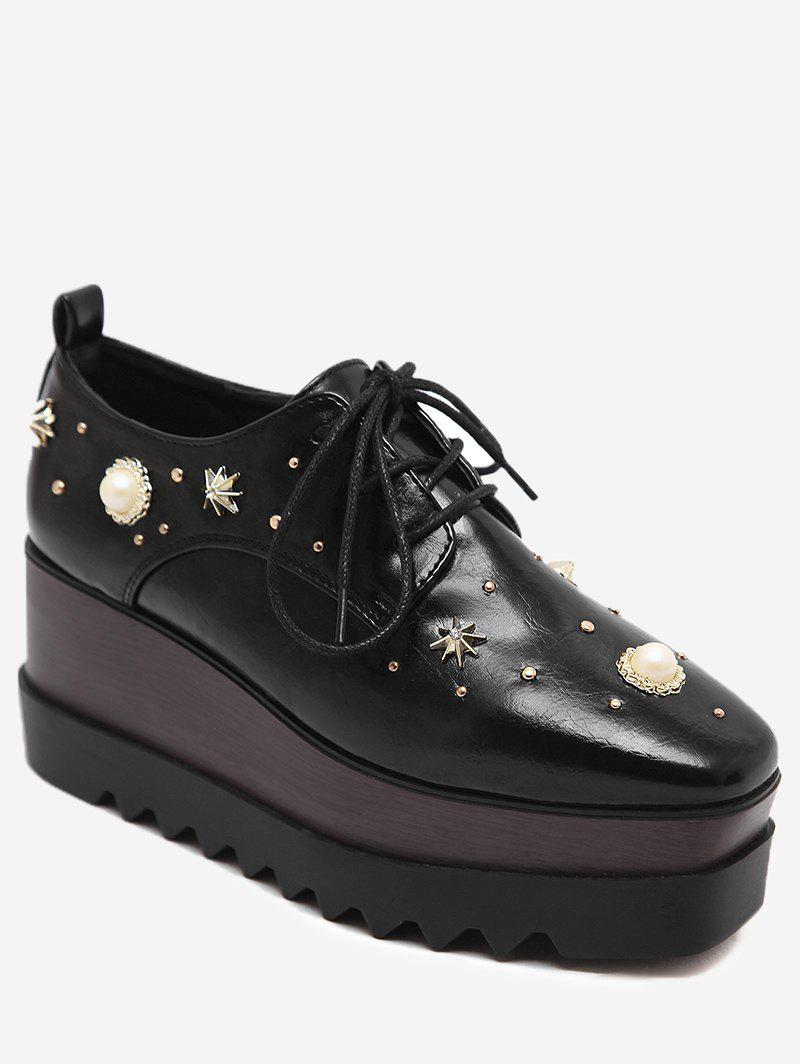 Faux Pearl Embellished PU Leather Wedge Shoes - BLACK 38