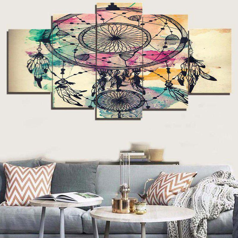 Dream Catcher Print Frameless Split Canvas Paintings - COLORFUL 1PC:8*20,2PCS:8*12,2PCS:8*16 INCH( NO FRAME )