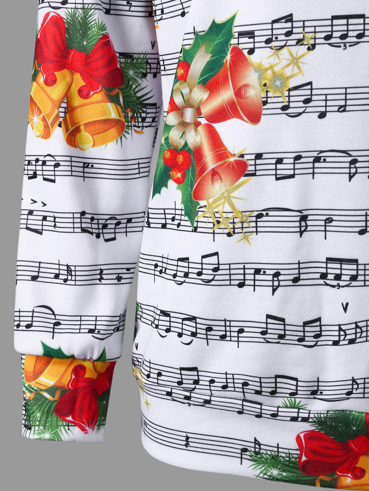 Christmas Music Score and Bell Print Sweatshirt - COLORMIX XL