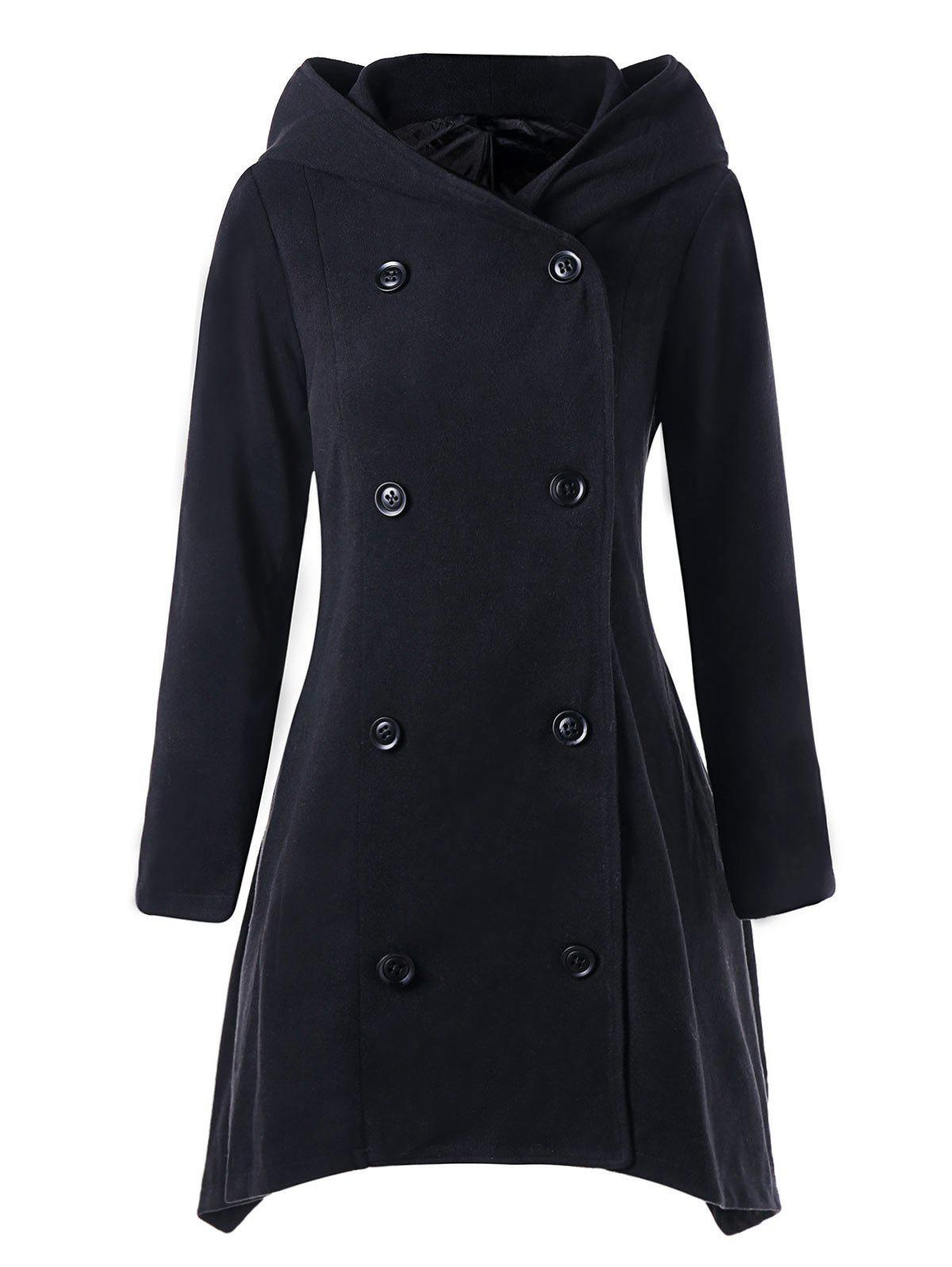 Hooded Double Breasted Asymmetric Coat - BLACK 2XL