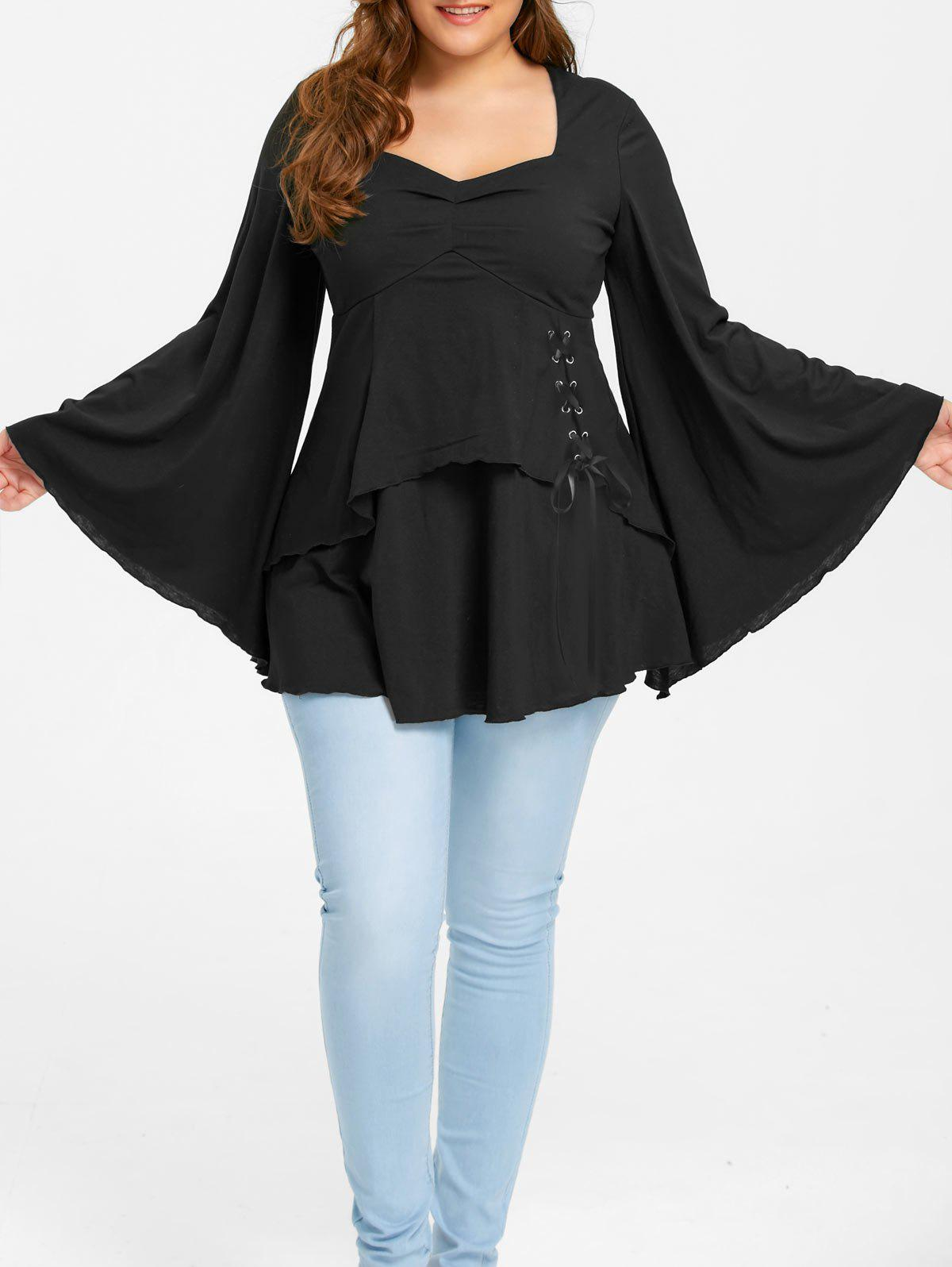 Plus Size Lace Up Sweetheart Neck Top - BLACK 2XL