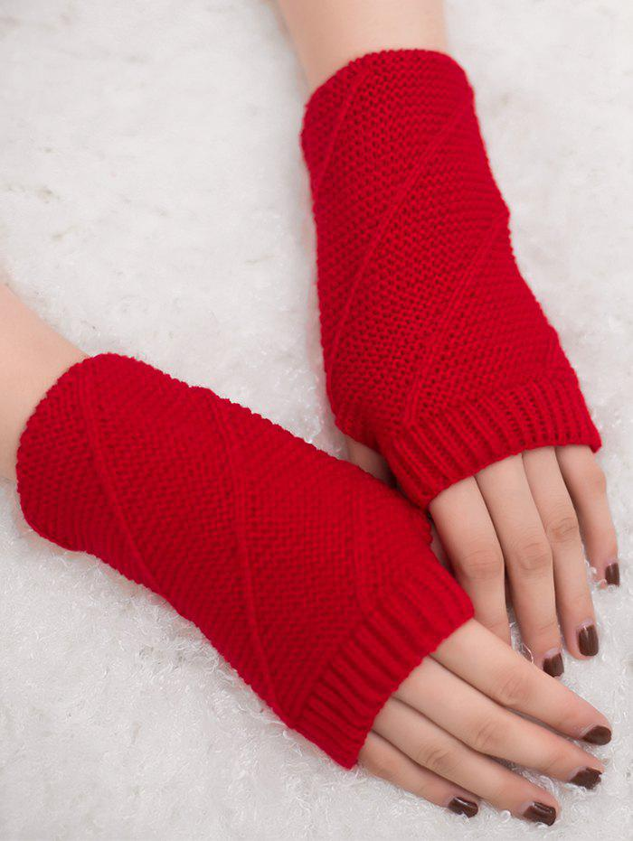 Striped Pattern Exposed Finger Knitted Gloves - RED