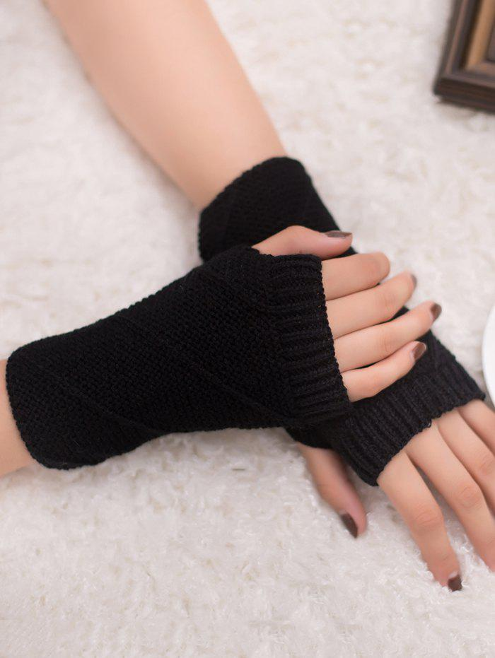Striped Pattern Exposed Finger Knitted Gloves - BLACK