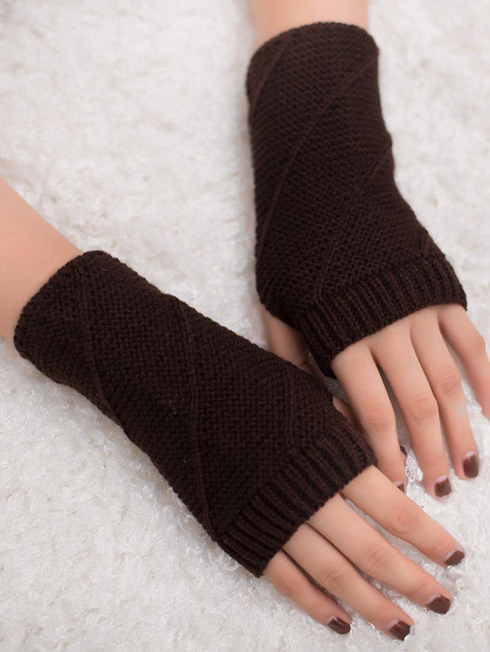 Striped Pattern Exposed Finger Knitted Gloves - COFFEE
