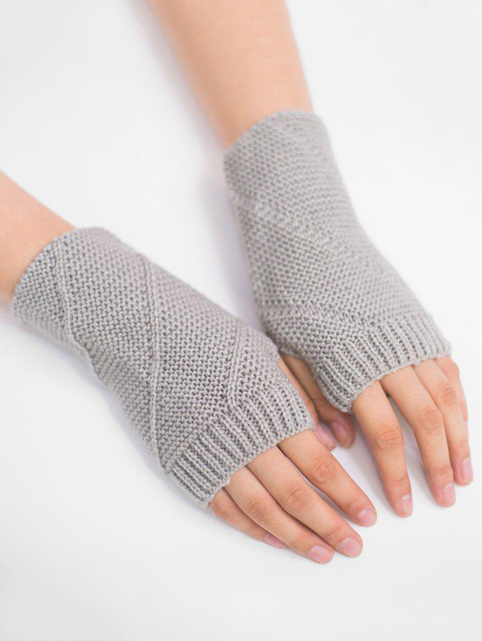 Striped Pattern Exposed Finger Knitted Gloves - LIGHT GRAY