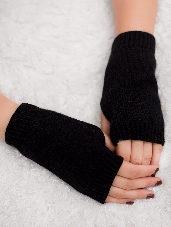 Outdoor Crochet Exposed Finger Gloves - BLACK