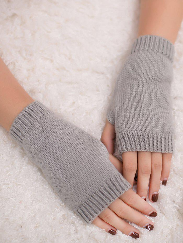 Outdoor Crochet Exposed Finger Gloves - LIGHT GRAY