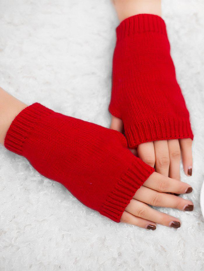 Outdoor Crochet Exposed Finger Gloves - BRIGHT RED