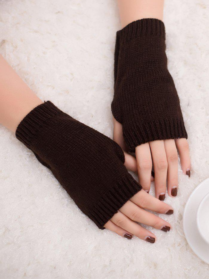 Outdoor Crochet Exposed Finger Gloves - COFFEE
