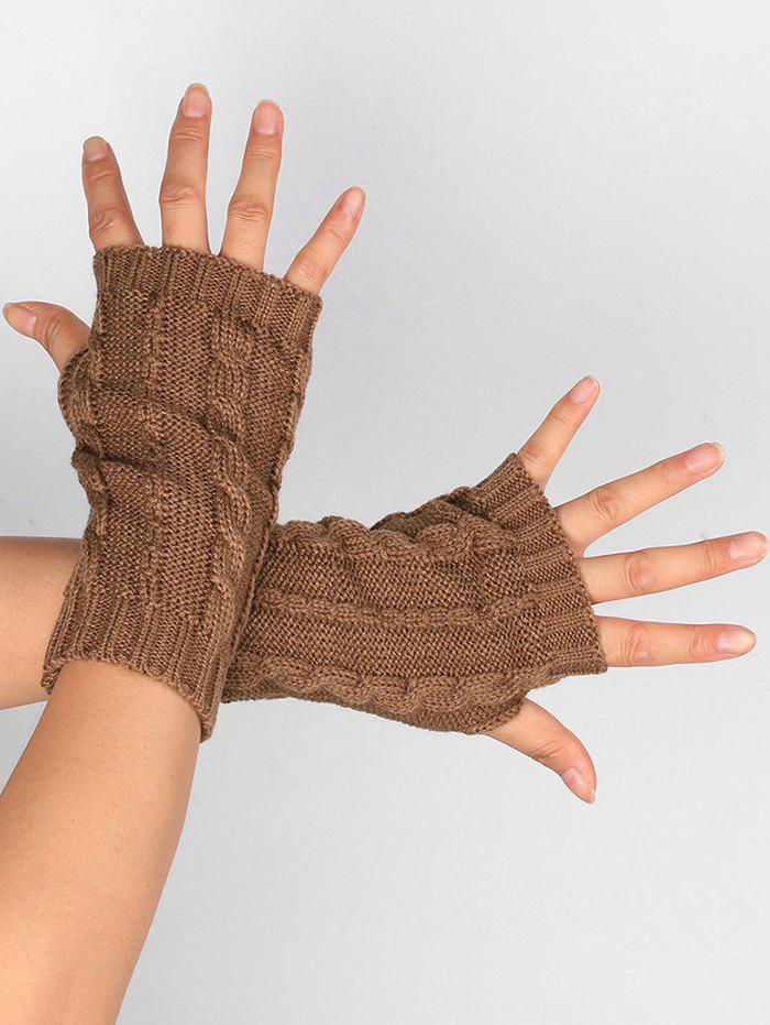 Hollow Out Crochet Knitting Fingerless Gloves - KHAKI