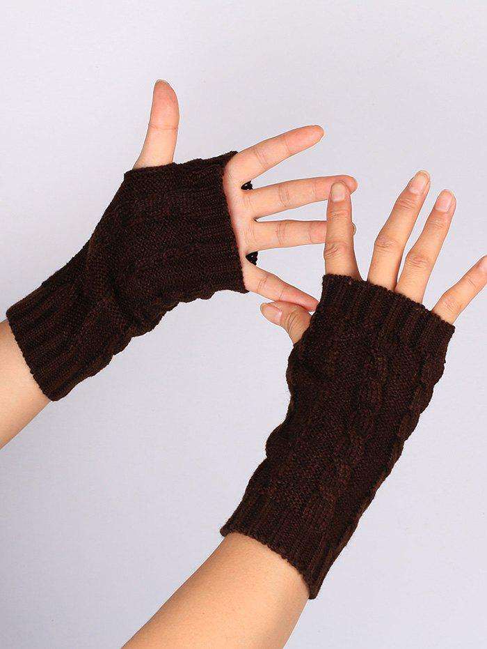 Hollow Out Crochet Knitting Fingerless Gloves - COFFEE