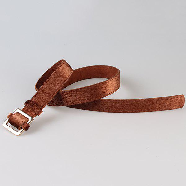 Retro Metal Square Buckle Decorated Skinny Belt - BROWN