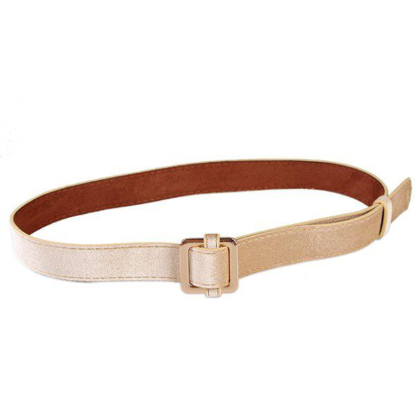 Retro Metal Square Buckle Decorated Skinny Belt - KHAKI