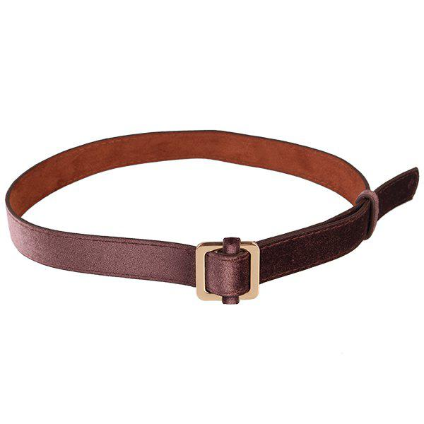 Retro Metal Square Buckle Decorated Skinny Belt - COFFEE
