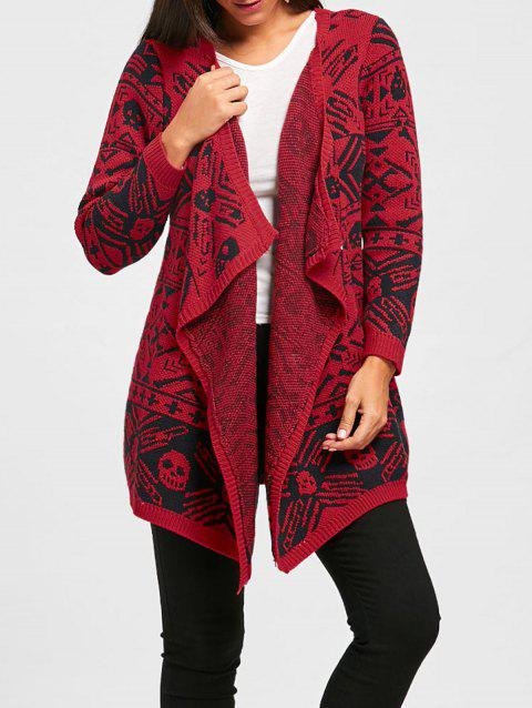 Open Front Skull Cardigan - RED L
