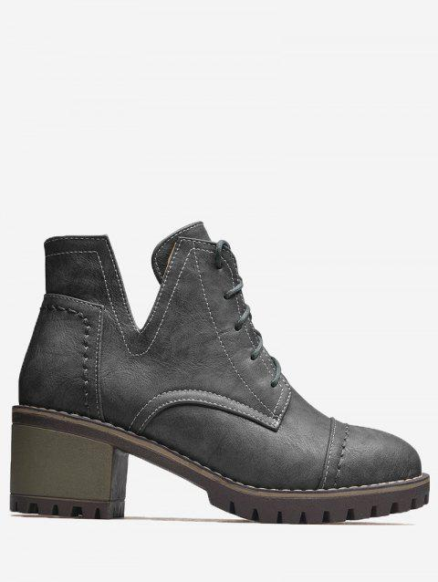 Curve Stitching Lace Up Boots - GRAY 39