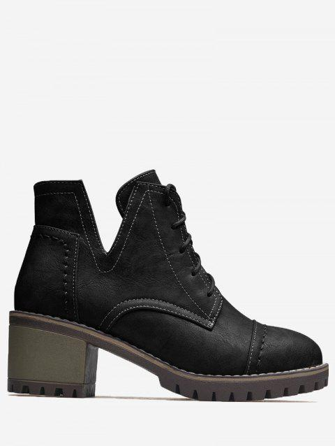 Curve Stitching Lace Up Boots - BLACK 36