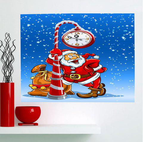 Horloge de Noël Santa Claus Pattern Sticker mural décoratif multifonctions - coloré 1PC:24*47 INCH( NO FRAME )