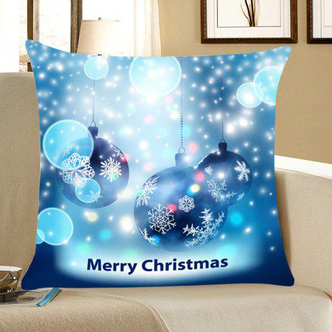 Christmas Snowflakes Balls Printed Throw Pillow Case - BLUE W18 INCH * L18 INCH