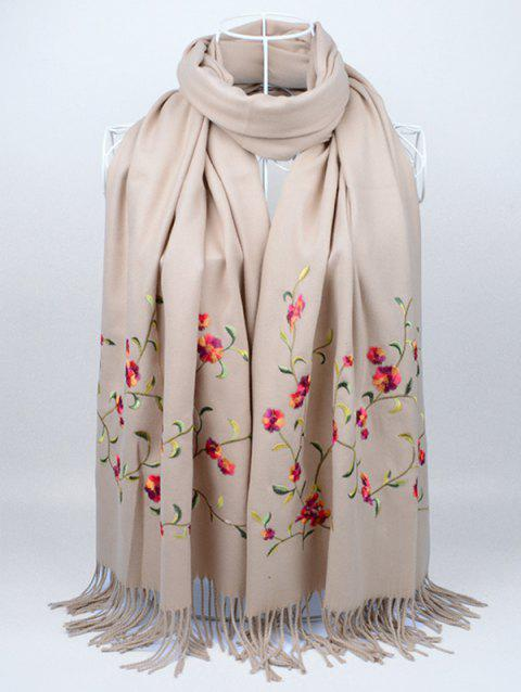 Floral Embroidery Faux Wool Long Scarf - KHAKI