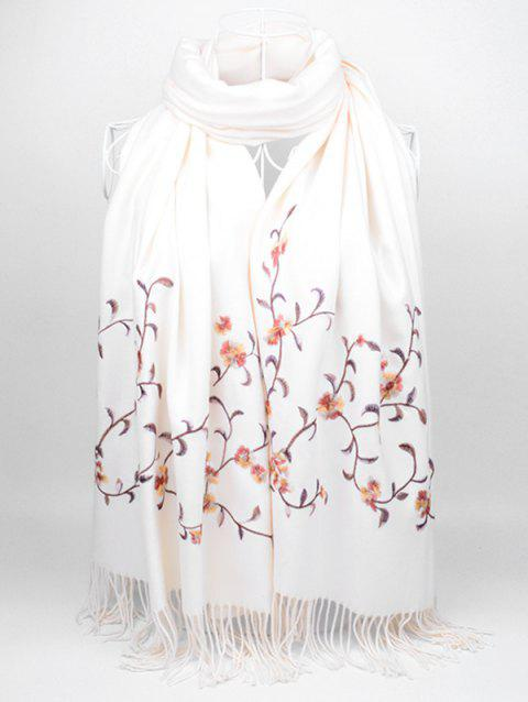 Floral Embroidery Faux Wool Long Scarf - WHITE