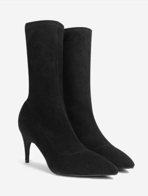 52b7d1425649 2019 Mid Heel Pointed Toe Mid Calf Boots In BLACK 39